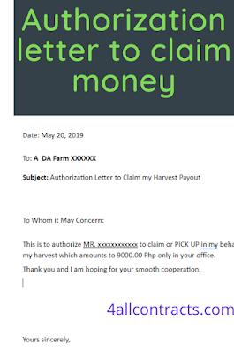 Authorization letter to claim money