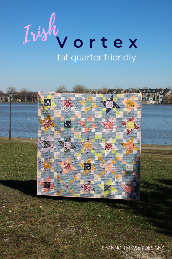 Fall Irish Vortex quilt | Q3 Finish-A-Long 2019 | Shannon Fraser Designs #scrappy #quilt #modernquilt