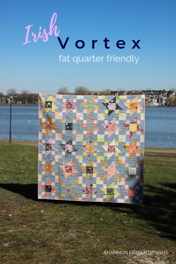 Fall Irish Vortex quilt | Q3 Finish-A-Long 2019 | Shannon Fraser Designs #scrappy #quilt #modernquilt