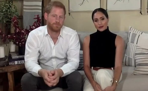 Meghan Markle wore a black renegade cashmere bodysuit by TUXE,  and a slash long sleeve top by Victor Glemaud,  ​linear bracelet by Monica Vinader