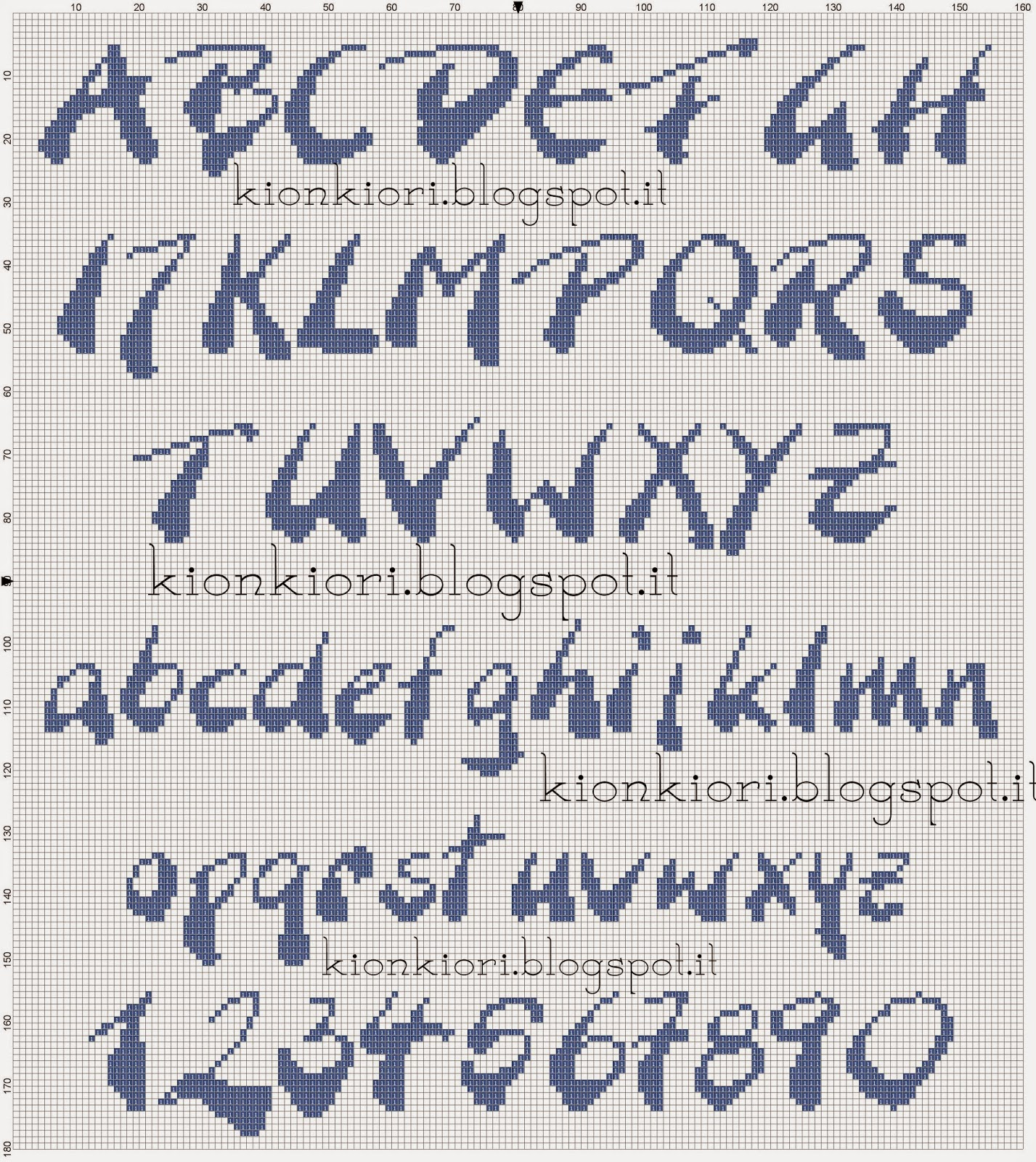 kionkiori punto croce un due tre alfabeti