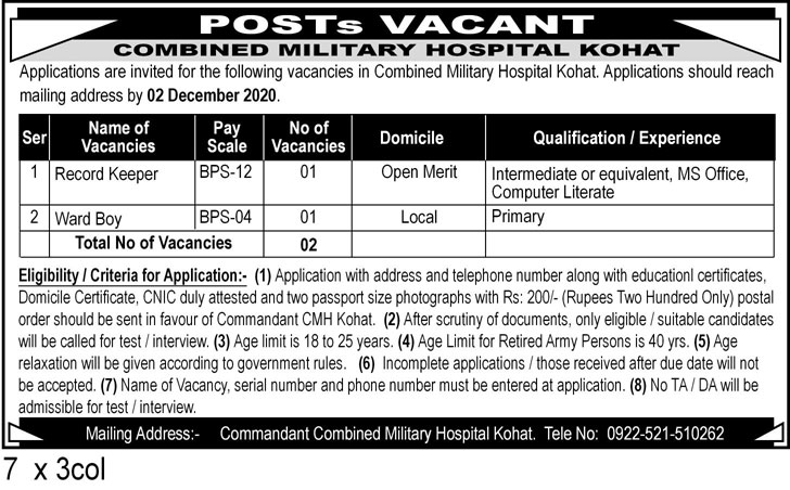 Combined Military Hospital CMH Latest Govt Jobs in Pakistan For Male and Female Jobs 2021