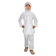 Baju Muslim Anak Perempuan Warna Putih Polos