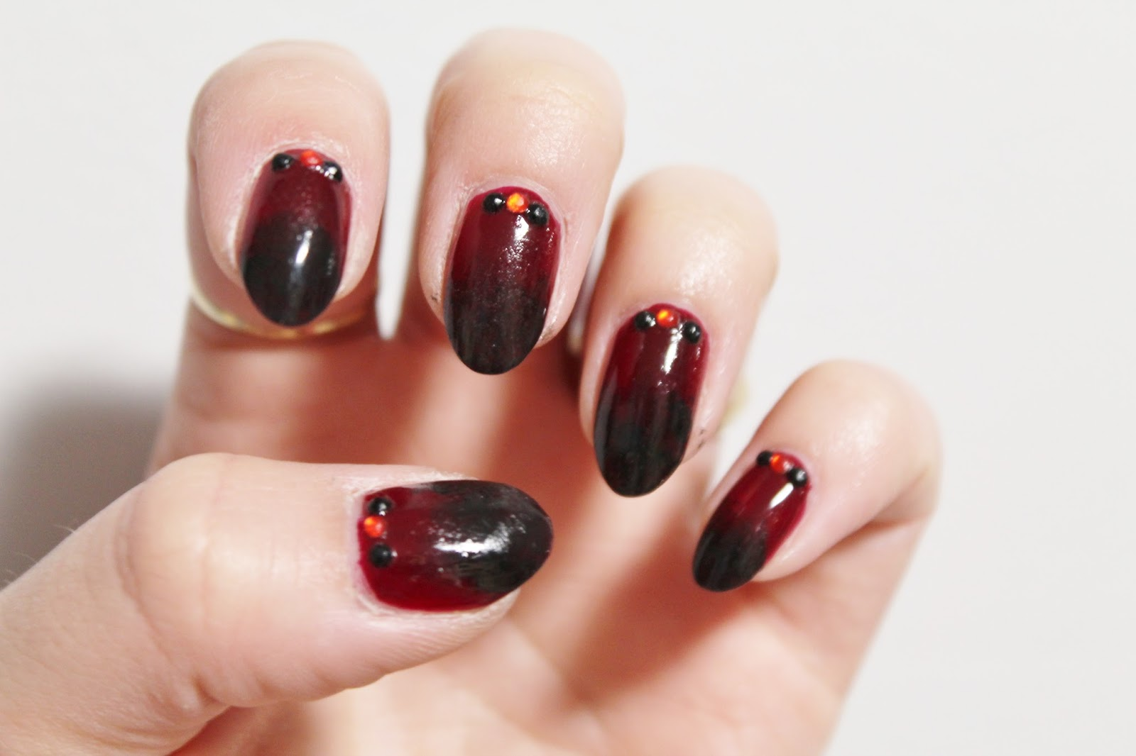 NYE Black and Red Ombre Nail Art - Jersey Girl, Texan Heart