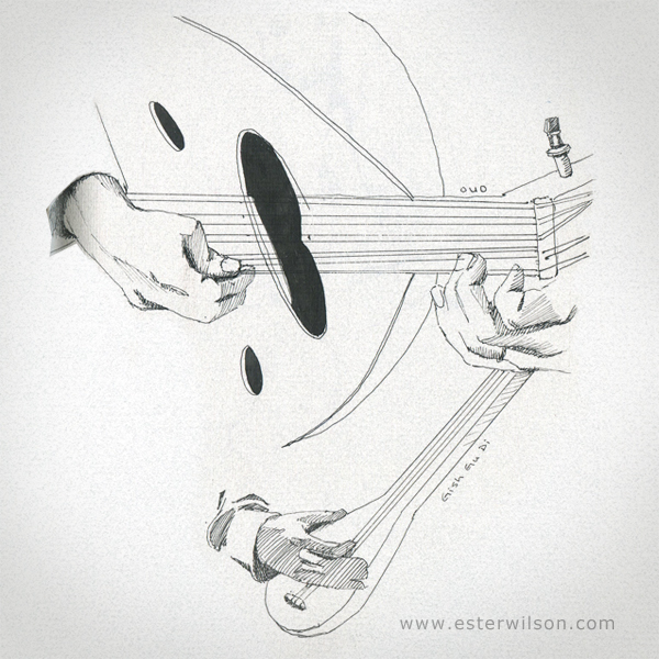 Drawing of some musician's instruments