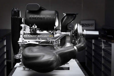 Vista laterale motore Renault F1 turbo 2014