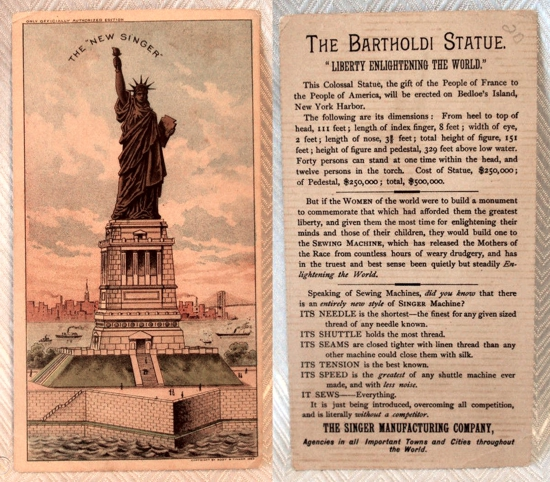 Singer sewing machines Statue of Liberty trade card 1883