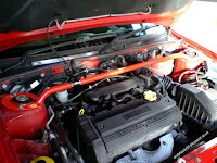 MG Rover 25 1.4  K series Solar Red engine bay detailed with OMP strut brace