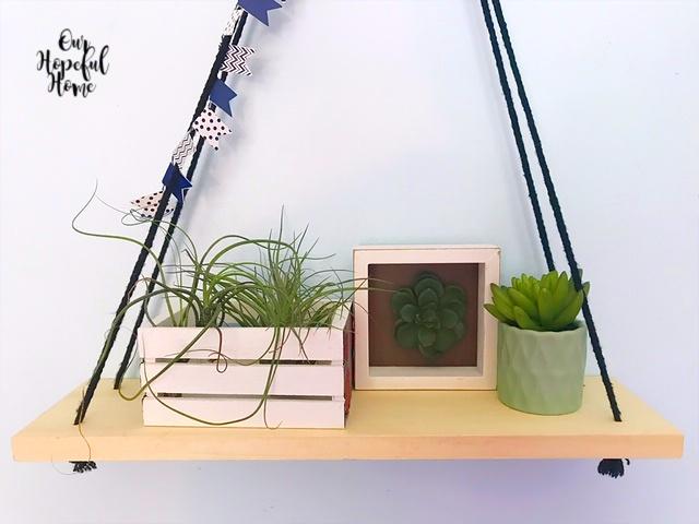 DIY washi tape banner garland faux succulents shelf