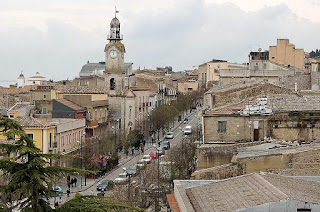 The Corso Vittorio Emanuele and the church of San Rosario in the centre of San Cataldo
