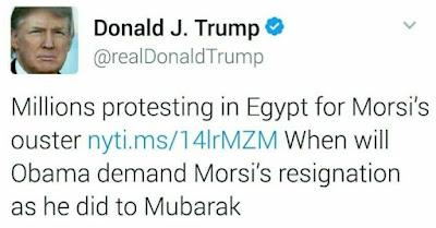 ترامب يسأل أوباما لماذا وقفت مع المصريين عندما خرج لعزل مبارك ولم تقف معه عندما خرج لعزل مرسي ؟!