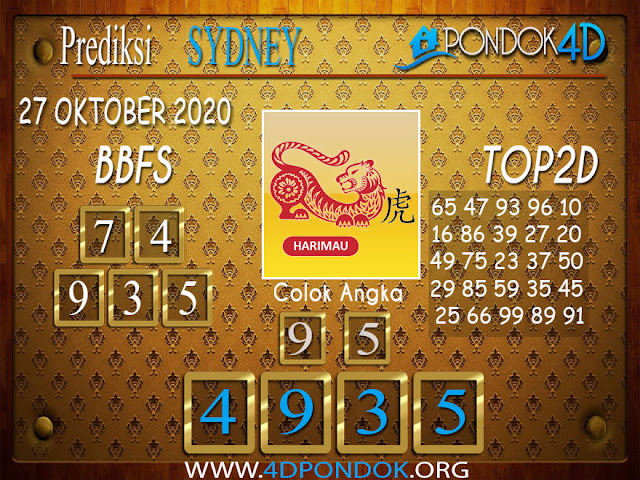 Prediksi Togel SYDNEY PONDOK4D 27 OKTOBER 2020