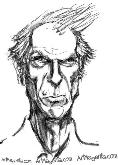 Clint Eastwood  caricature cartoon. Portrait drawing by caricaturist Artmagenta.