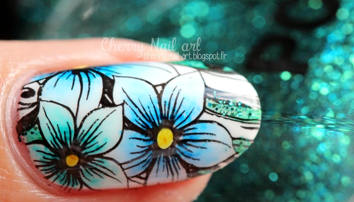 nail art fleur stamping dégradé au marqueur