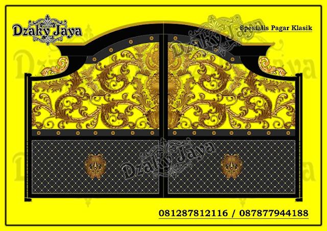 Contoh gambar pintu pagar besi tempa full ornamen Alferon