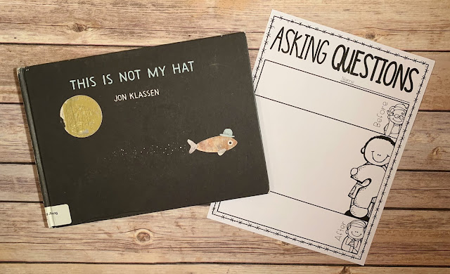 "Mentor text with text ""This is Not My Hat"" and graphic organizer with text ""Asking Questions"""