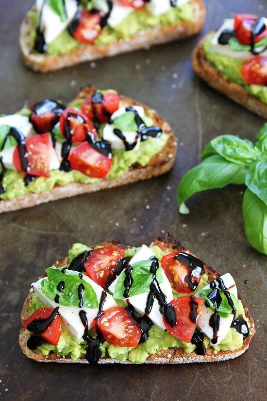 Caprese Avocado Toast - Caprese salad meets avocado toast! This is the BEST avocado toast and it's so easy to make! It's great anytime of day!