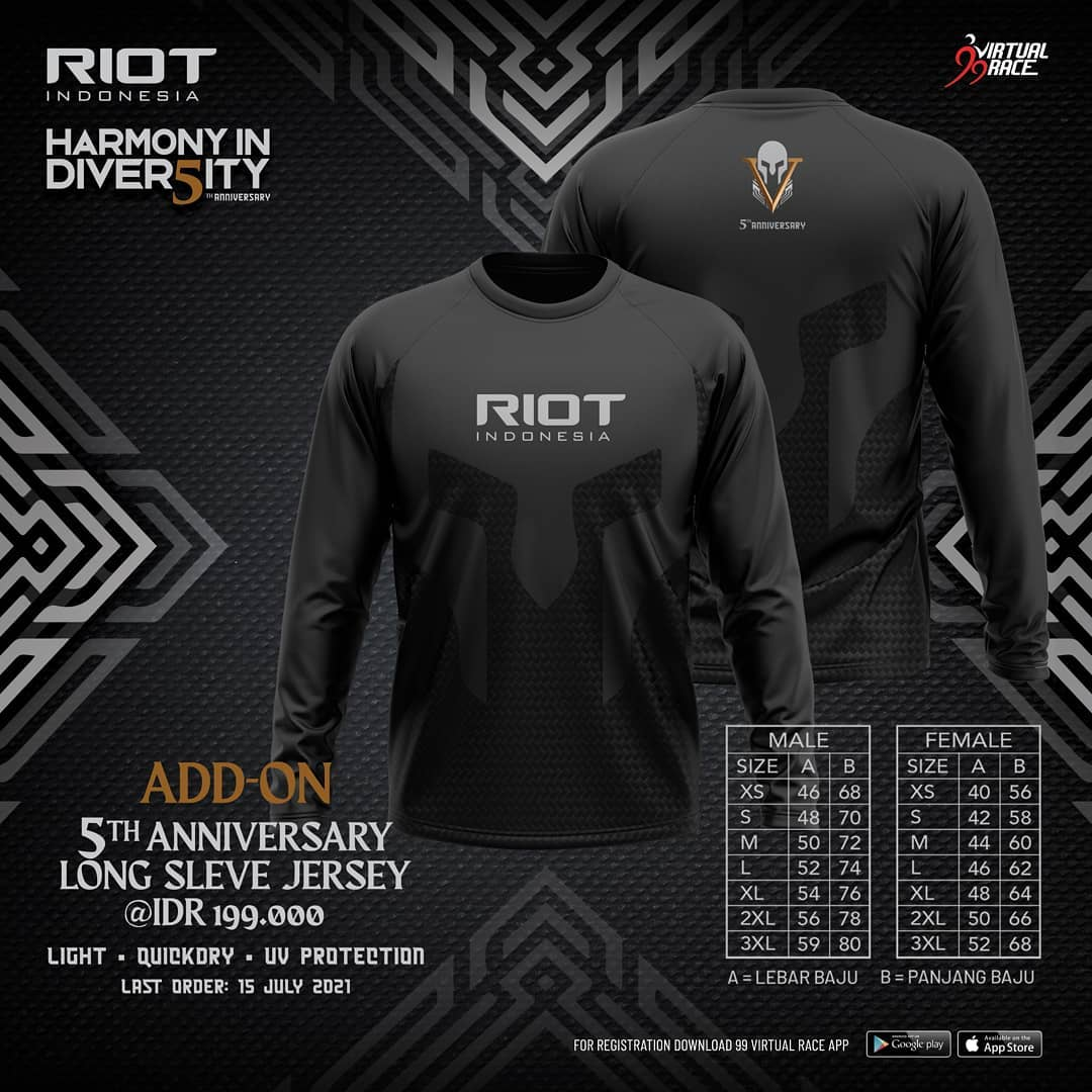 Running Jersey 👕 RIOT 5th Anniversary Virtual Run • 2021