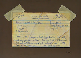 Small trompe l'oeil painting of a sugar cookie recipe card