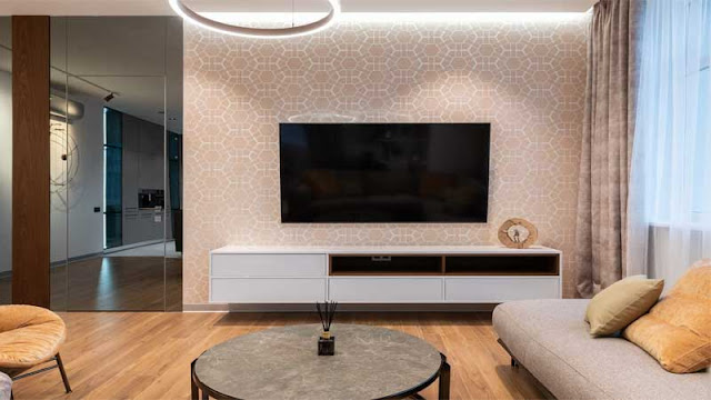 desain ruang keluarga lantai parket