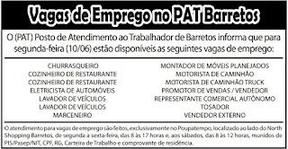 VAGAS DE EMPREGO DO PAT BARRETOS-SP PARA 10/06/2019 (SEGUNDA-FEIRA) - Ano 12 - Edição 697 - 08/06/2109 - Página 4 - Jornal O Povo de Barretos Online