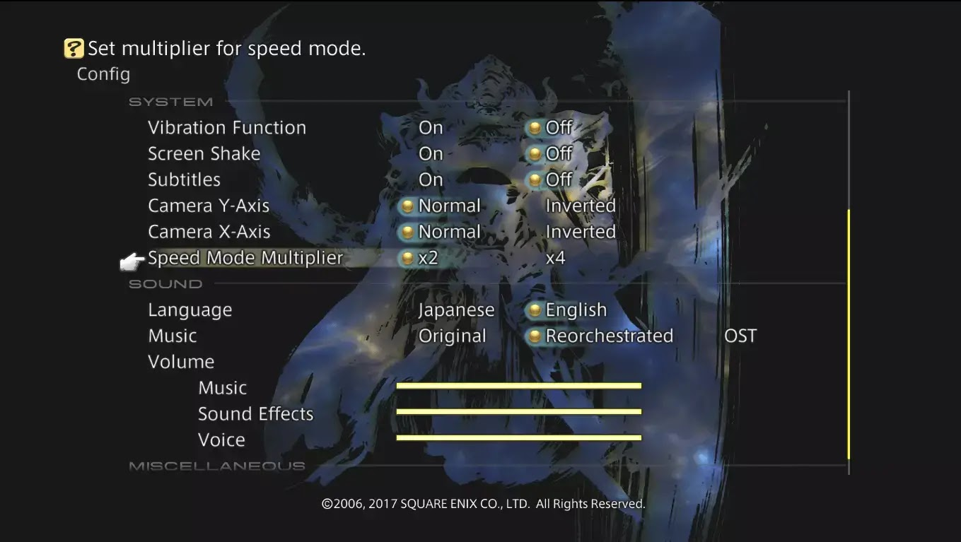 Options Final Fantasy XII : Zodiac Age