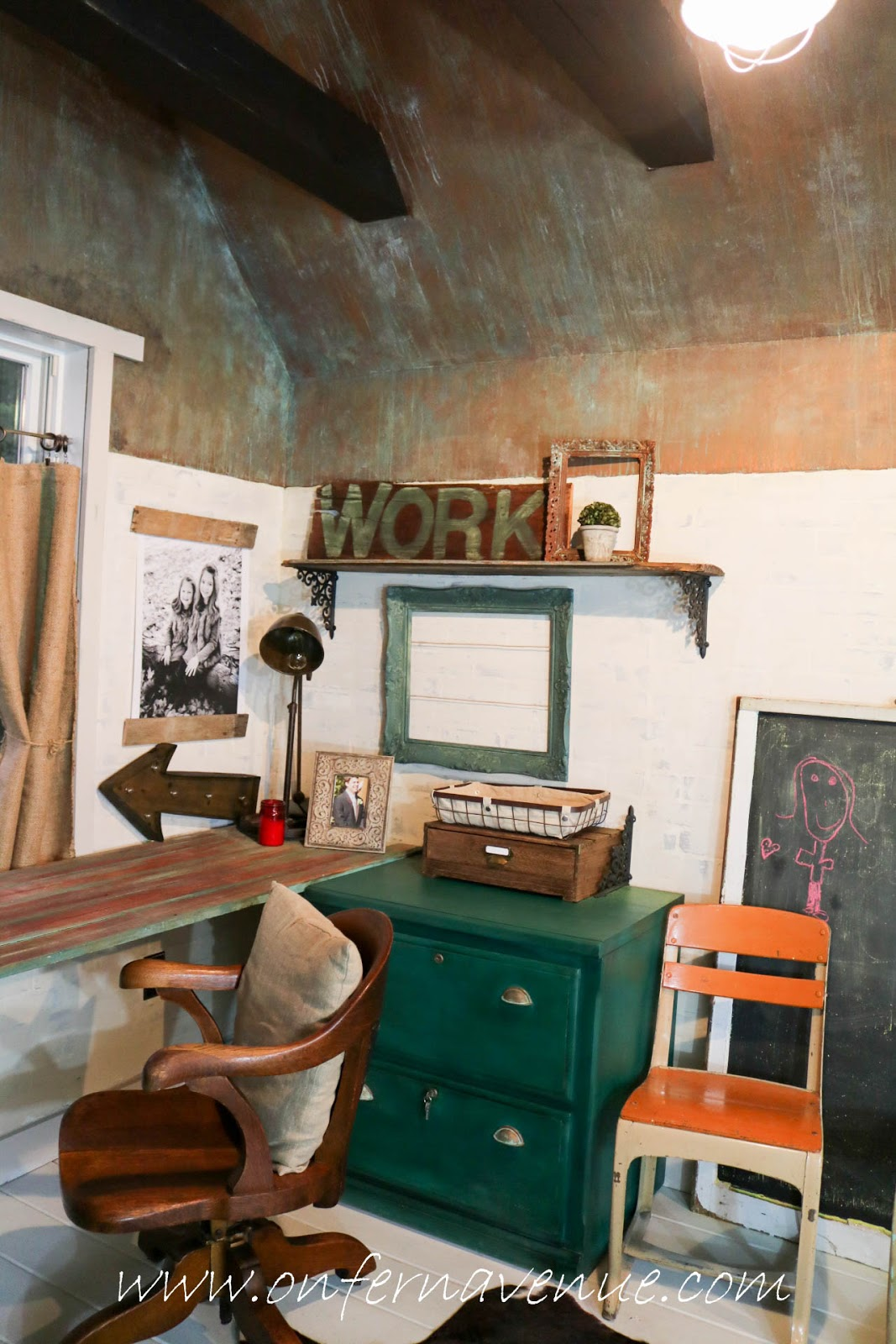 finished office makeover. Modern Masters Metal Effects Green Patina Finished Office Makeover M