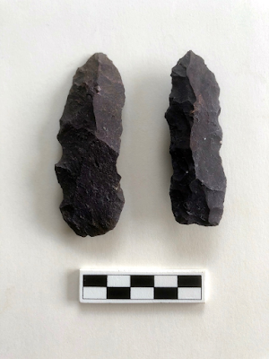 Two thinned bifaces recovered in Trench 2 that resemble what Henry Wright called Selby Bay Phase rough metarhyolite bifaces (Wright 1973 Figure 7m). It is possible, based on their thinned forms, that they were used as tools. Edge wear analysis has not been completed.