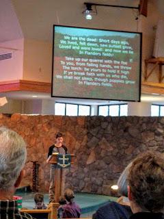 "reading ""In Flanders Field"" at Monument Community Presbyterian Church, Colorado"