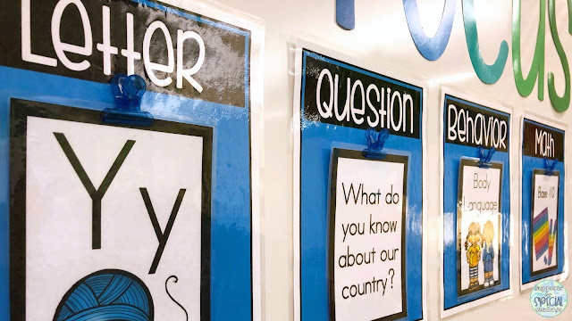 4 posters  listing objectives for: letter, essential question, behavior, and math