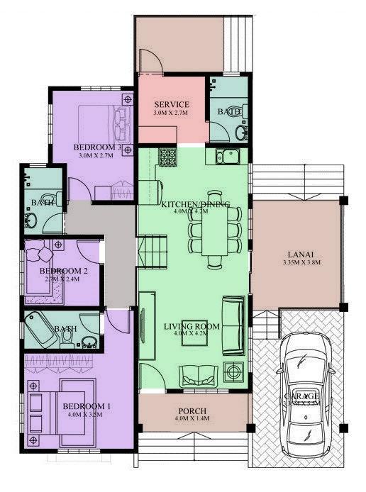 Desain denah rumah mediteranian 1 lantai 3 kamar tidur