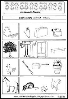 Desenhos sílabas iniciais iguais