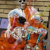Image: Halloween Candy Tree, topped with a Skeleton