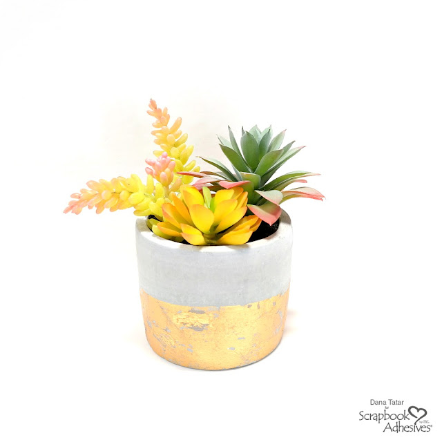Faux Gold Leaf Succulent Planter Tutorial with Foil Transfer and Adhesive Sheets