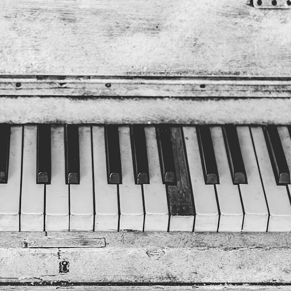 Worn piano keys