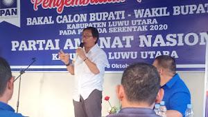 Pilkada Luwu Utara 2020, Kepala Dinas PUPR Mengembalikan Formulir Pendaftaran di PAN