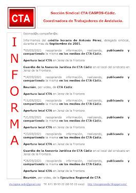 C.T.A. INFORMA CRÉDITO HORARIO ANTONIO PÉREZ, SEPTIEMBRE 2021