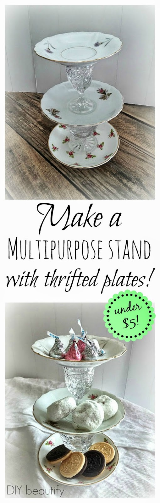 Make a tiered plate stand with thrifted plates and crystal stemware