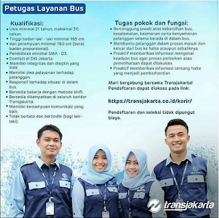 Info Lowongan Kerja Petugas Layanan Bus Transjakarta 2018 terbaru laki laki perempuan ijazah sma/smk d3 untuk bagian petugas layanan bus bekasi jakarta dan sekitarnya