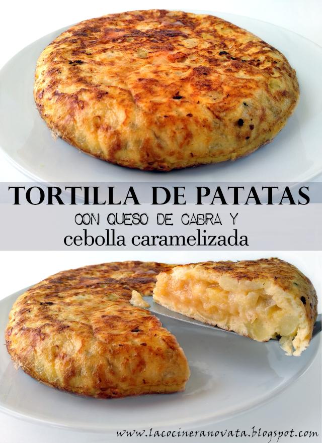 TORTILLA DE PATATAS CON QUESO DE CABRA Y CEBOLLA CARAMELIZADA la cocinera novata receta cocina española comfortfood casera tradicional