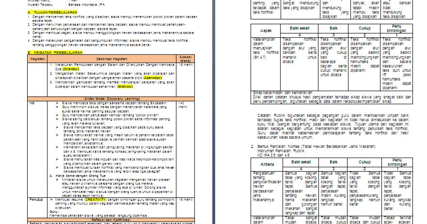 Rpp 1 Lembar Kelas 5 Sd Mi Tema 5 Ekosistem Antapedia Com