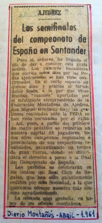 Recorte del Diarion Montañes, abril 1961