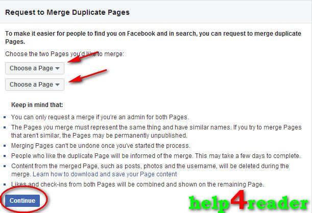 facebook page ko merge kaise kare