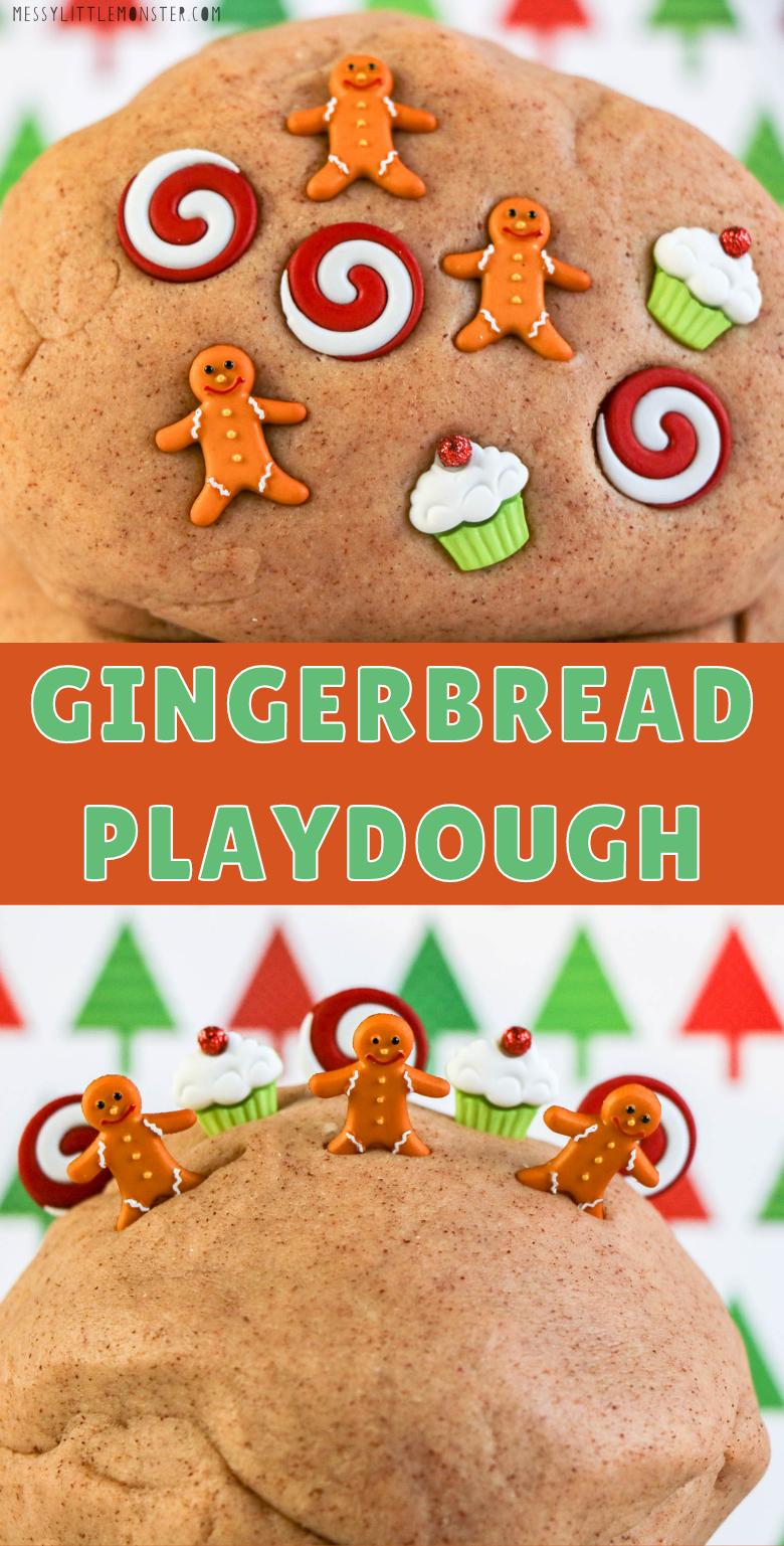 Homemade playdough recipe. Gingerbread playdough.