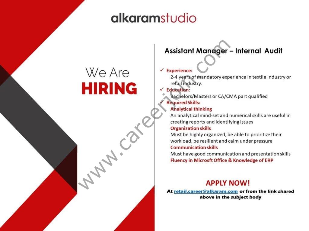 Alkaram Studio Jobs in Pakistan 2021 For Assistant Manager Internal Audit Post - Send CV to retail.career@alkaram.com