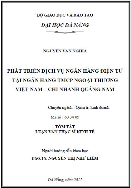 Phát triển dịch vụ ngân hàng điện tử tại ngân hàng TMCP ngoại thương Việt Nam chi nhánh Quảng Nam