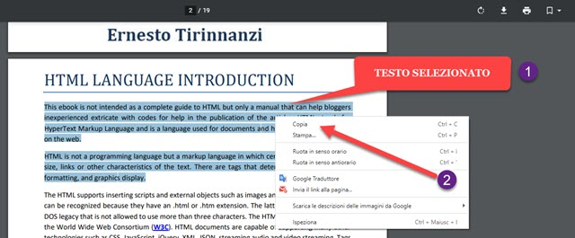 selezione e copia del testo