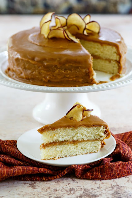 looking across a slice of homemade southern style caramel cake