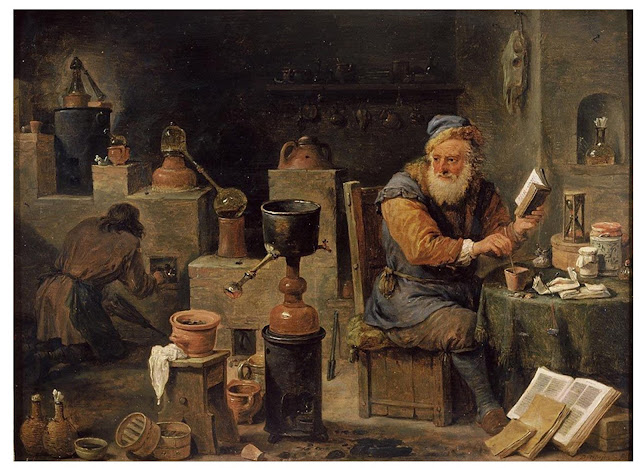 "hourglass or sandglass seen from a 17th century oil painting on wooden panel entitled ""The Alchemist"" by David Teniers the Younger"