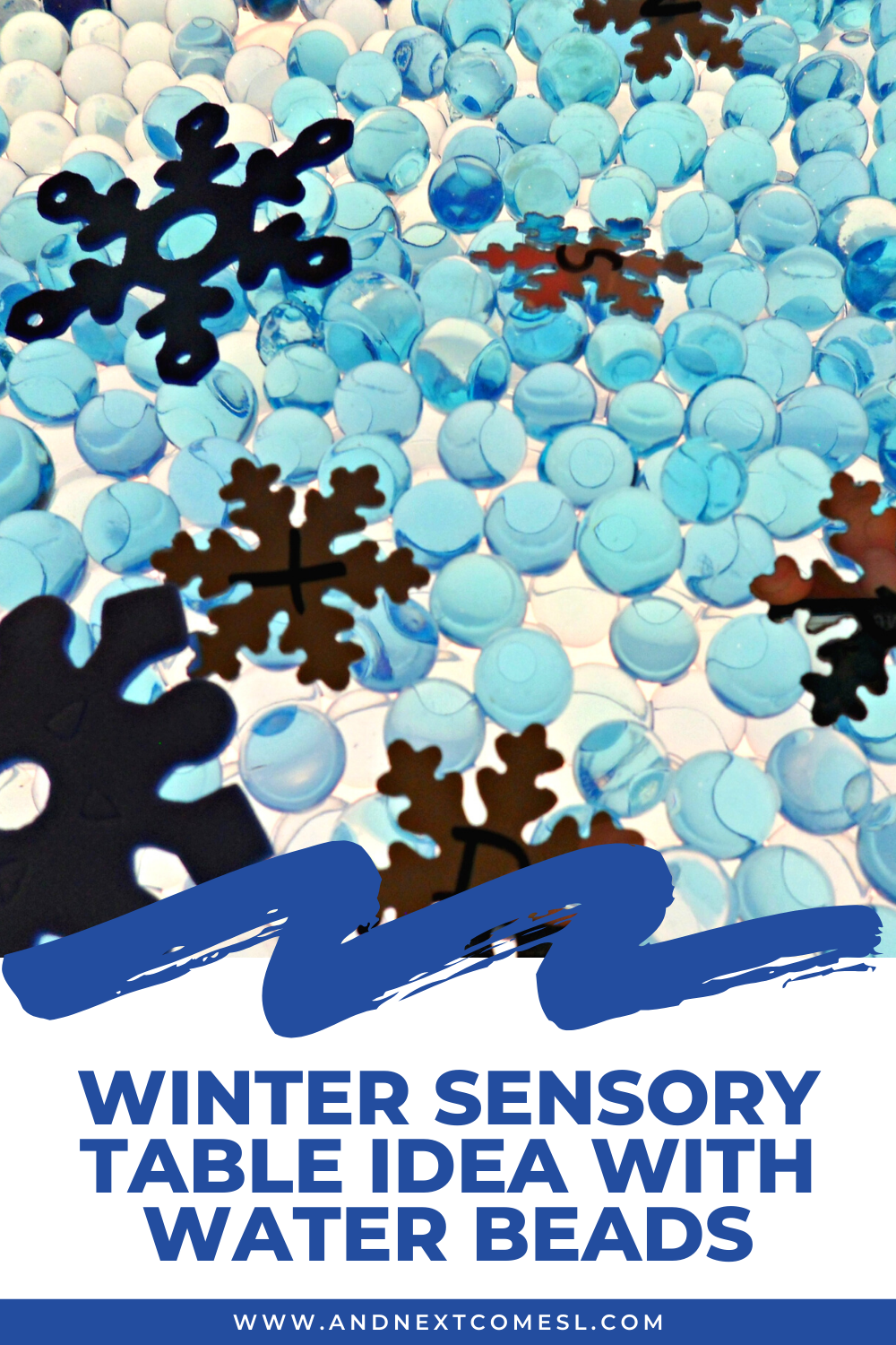 Preschool winter sensory table idea with water beads - great sensory bin idea for on (or off!) the light table